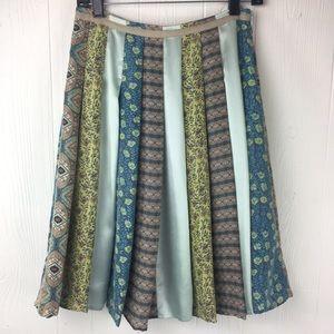 J. Jill 100% Silk Panel Flared Skirt BOHO SM Sz 4